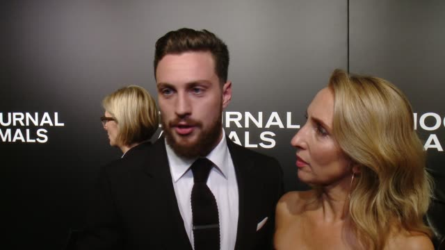 "interview aaron taylorjohnson on his initial reaction to the script his favorite part of working with tom ford at ""nocturnal animals"" los angeles... - working animals stock videos & royalty-free footage"