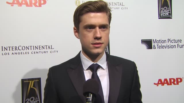 aaron tveit on the motion picture and television fund on the song he's performing tonight on if he prefers theater or film on the first musical he... - motion picture & television fund stock videos & royalty-free footage