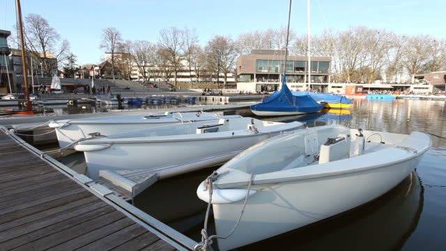 Aaseeterrassen with boats in Münster (Aasee)