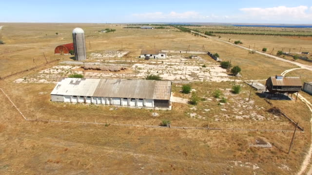 aerial: abandoned agricultural farm - elevator point of view stock videos and b-roll footage