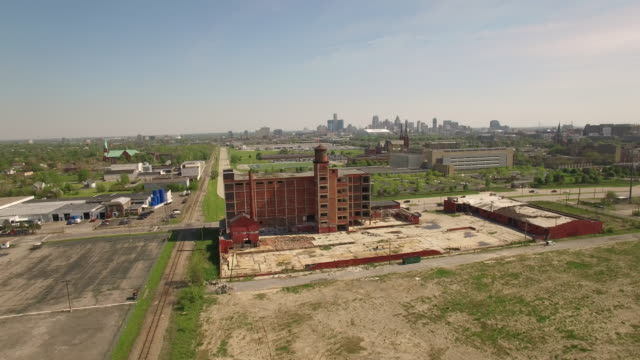 abandoned building detroit aerial - detroit michigan stock videos & royalty-free footage