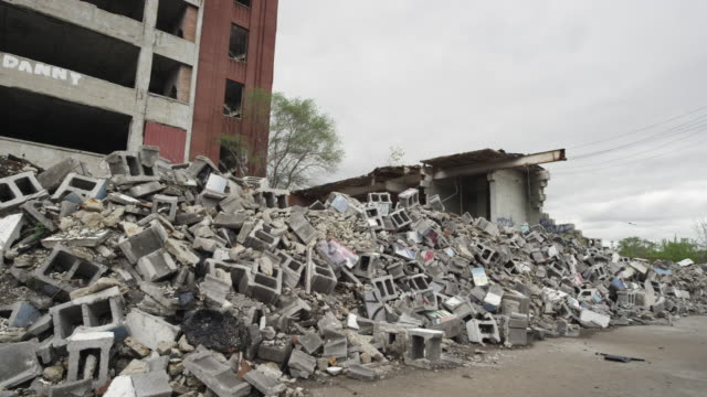 abandoned building in detroit and rubble   - bad condition stock videos and b-roll footage
