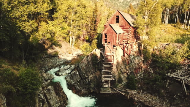 abandoned cabin with waterfall in colorado - log cabin stock videos & royalty-free footage