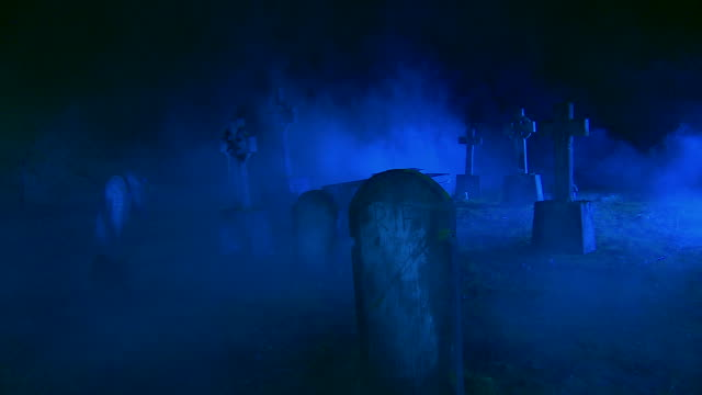 hd crane: abandoned cemetery shrouded in fog - gravestone stock videos & royalty-free footage