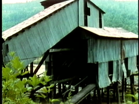 1969 montage abandoned coal mine in appalachian mining area/ usa/ audio - appalachia stock videos & royalty-free footage