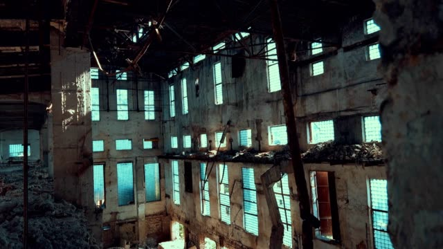 abandoned destroyed factory from the inside - concrete stock videos & royalty-free footage