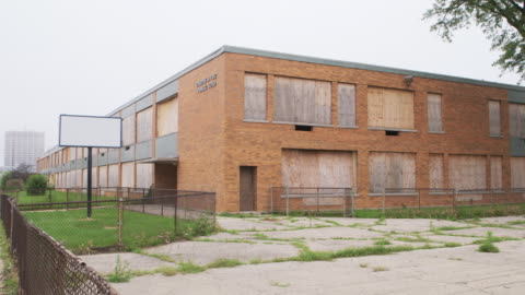 ws pan abandoned elementary school - abandoned stock videos & royalty-free footage