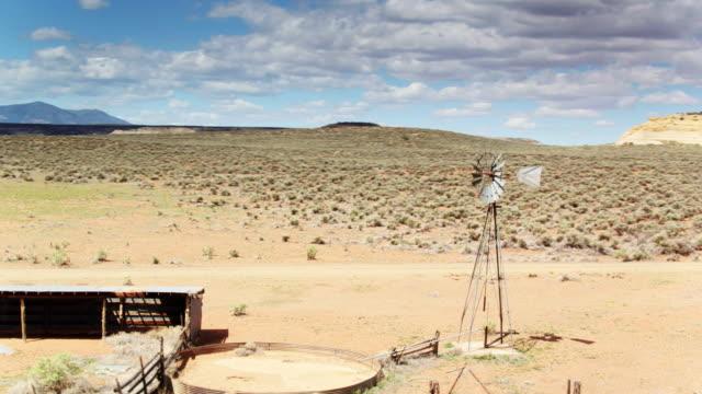 Abandoned Farm in Utah with Static Windpump - Drone Shot
