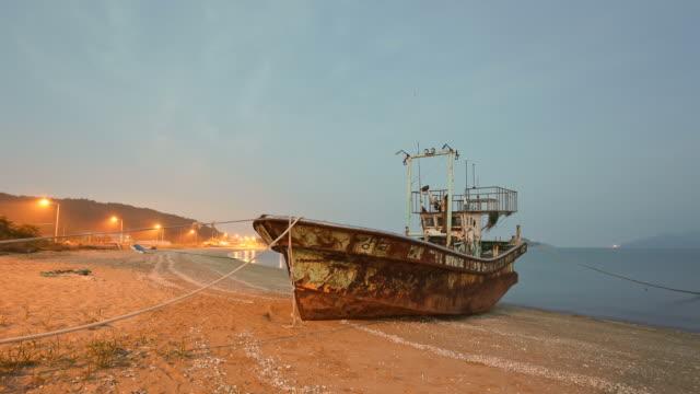 MS T/L Abandoned fishing boat at Yeongjongdo beach / Incheon, South Korea