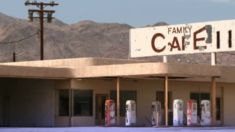 ms pan abandoned gas station and cafe / desert center, california, usa  - petrol stock videos & royalty-free footage