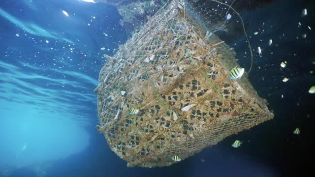 vídeos de stock e filmes b-roll de abandoned ghost net fish aggregating device polluting the ocean - rede de pesca objeto manufaturado