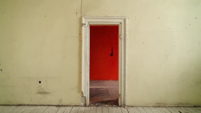 abandoned house. old room with doors - doorway stock videos & royalty-free footage