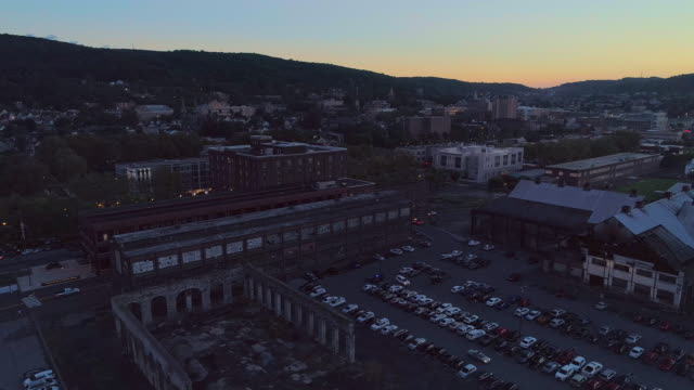 abandoned industrial area in bethlehem, pennsylvania, in the dusk. aerial drone video with the panoramic camera motion. - bethlehem pennsylvania stock videos and b-roll footage