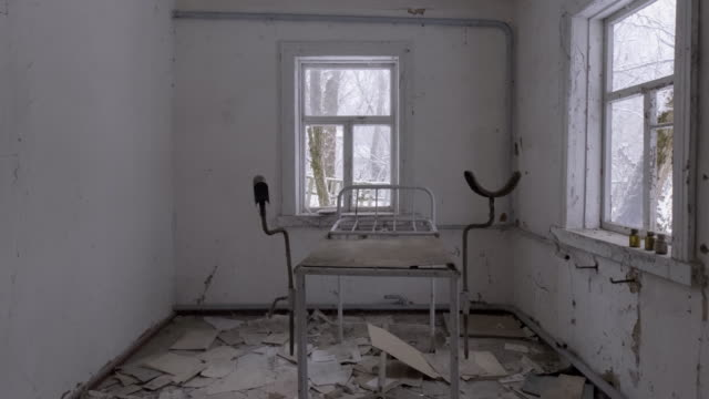 abandoned medical stirrups in medical clinic, pripyat city - military base stock videos & royalty-free footage