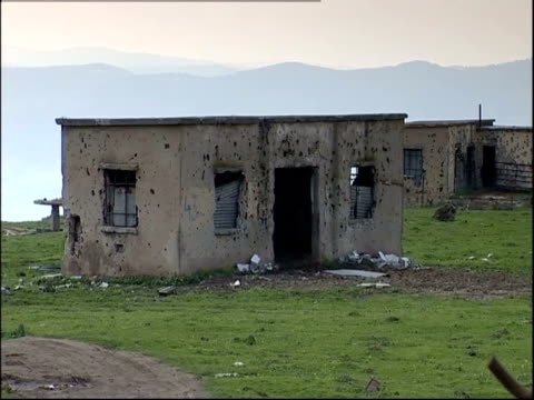 Abandoned military buildings occupy a former battlefield in Golan Heights, Israel.