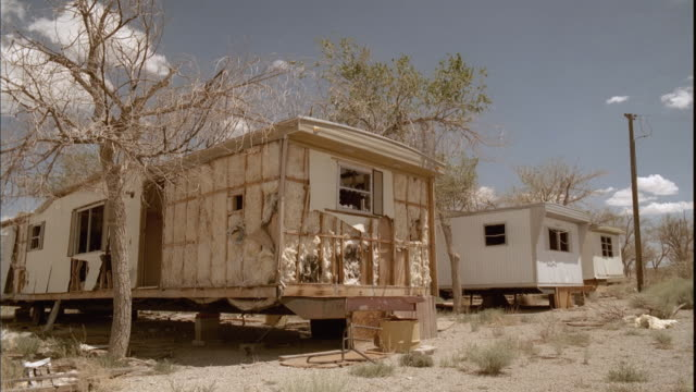 MS, Abandoned mobile homes in open desert area, Tonopah, Nevada, USA