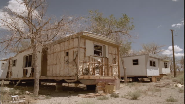 MS, PAN, Abandoned mobile homes in open desert area, Tonopah, Nevada, USA
