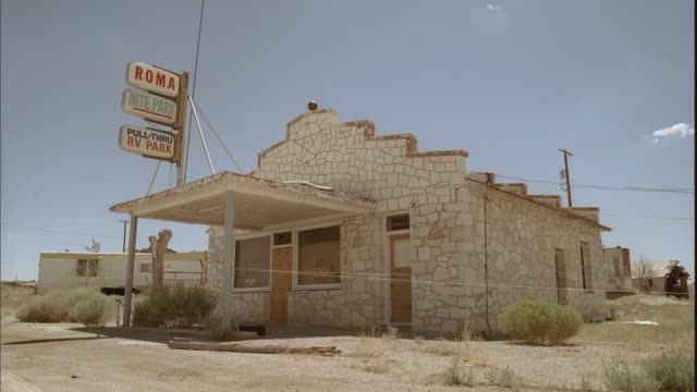 WS, Abandoned office for mobile home park in desert, Tonopah, Nevada, USA