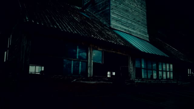abandoned old spooky granary at night - run down stock videos & royalty-free footage