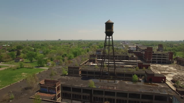 abandoned packard plant detroit aerial - run down stock videos & royalty-free footage