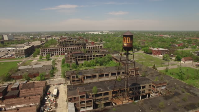 abandoned packard plant detroit aerial - michigan stock videos & royalty-free footage