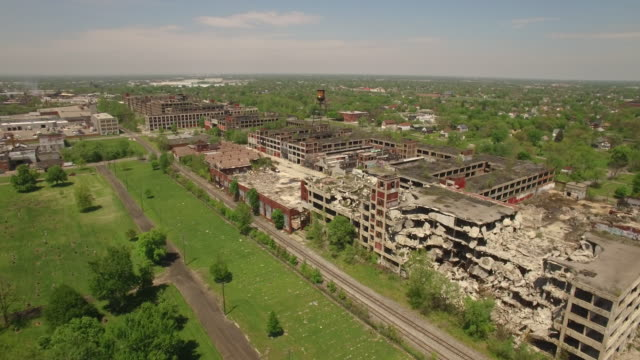abandoned packard plant detroit aerial - bad condition stock videos and b-roll footage