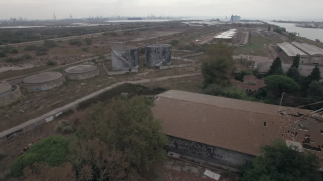 Abandoned place / lost place rice factory aerial view