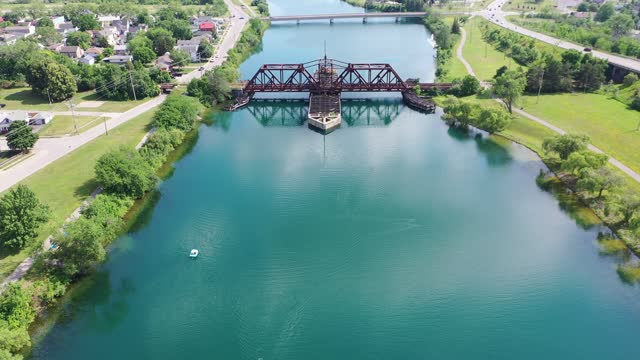 abandoned railroad bridge over the old welland canal - niagara falls city new york state stock videos & royalty-free footage