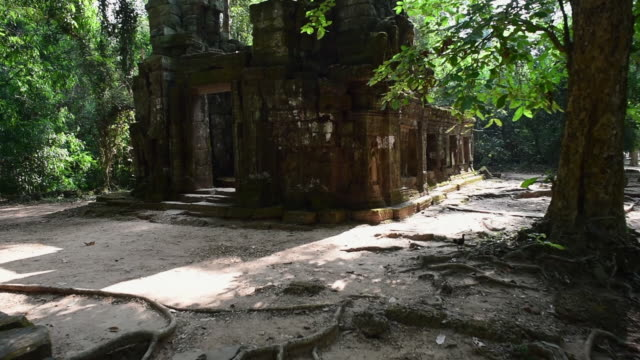 abandoned ruined ancient historic hindu temple amidst trees on sunny day - siem reap, cambodia - spirituality stock videos & royalty-free footage