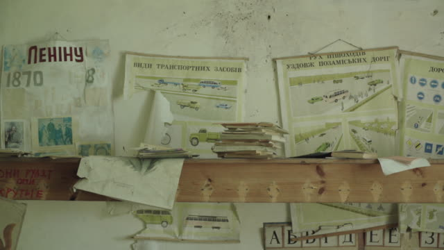 stockvideo's en b-roll-footage met abandoned school in krasne, ukraine near chernobyl, on june 17, 2019. the chernobyl disaster was a catastrophic nuclear accident that occurred on 26... - kernramp van tsjernobyl