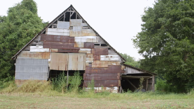 ws abandoned shack on field / bell buckle, tennessee, united states - 掘建て小屋点の映像素材/bロール