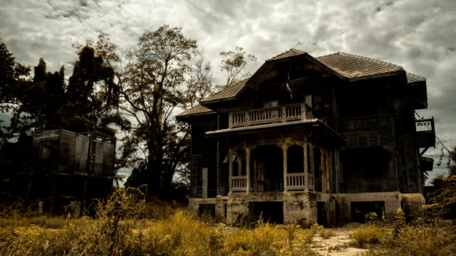Abandoned spooky wooden house