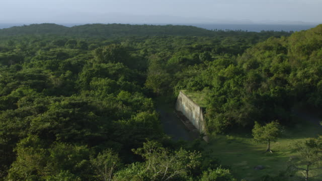 ws zo aerial pov abandoned us navy bunkers surrounded by lush in jungle / vieques, puerto rico, united states - 防空壕点の映像素材/bロール