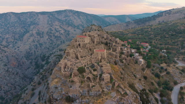 abandoned village anavatos, chios island, greece - greek islands stock videos and b-roll footage