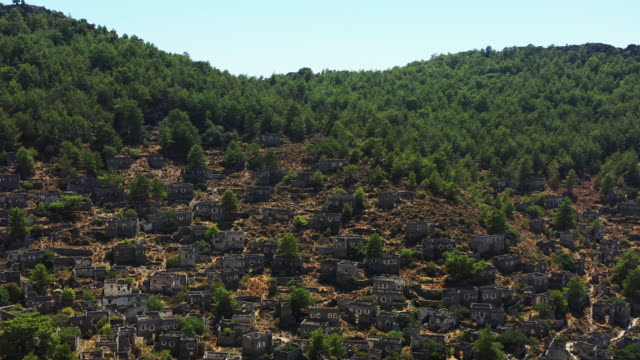 abandoned village kayakoy in fethiye, antalya - old ruin stock videos & royalty-free footage