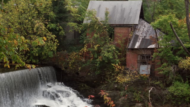 ms, abandoned watermill on wappingers creek, beacon, new york, usa - stationary process plate stock videos and b-roll footage