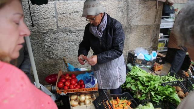 abasto food market in santiago de compostela galica spain on saturday july 27 2019 - galicia stock videos & royalty-free footage