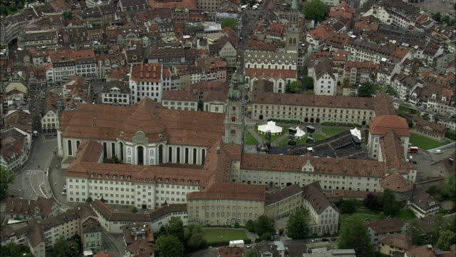 vídeos de stock e filmes b-roll de aerial abbey of saint gall, st. gallen, switzerland - estilo do século 18