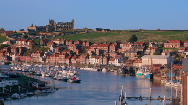 Abbey Ruins & Boats In Harbour Whitby, North Yorkshire, England