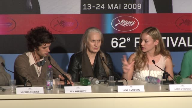 vídeos de stock, filmes e b-roll de abbie cornish on trusting the story and on working with jane campion at the cannes film festival 2009bright star press conference at cannes - abbie cornish