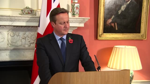 Abdel Fattah elSisi and David Cameron press conference ENGLAND London Downing Street INT Abdel Fatah elSisi and David Cameron MP along to podiums /...