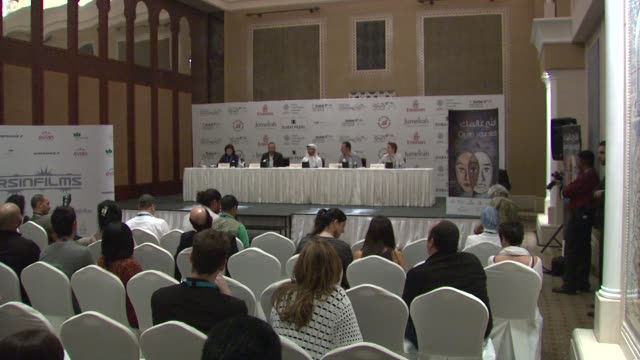 abdullah al kaabi jean reno and cyrille thouvenin at the the philosopher photocall and press conference 7th dubai international film festival at dubai - philosopher stock videos & royalty-free footage