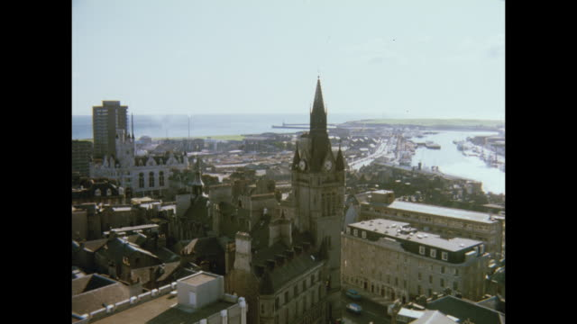 1981 aberdeen cityscape - aberdeen scotland stock videos & royalty-free footage