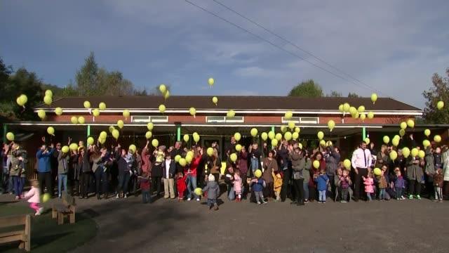 stockvideo's en b-roll-footage met 50th anniversary young girl releasing yellow balloon people releasing yellow balloons - 50 jarig jubileum