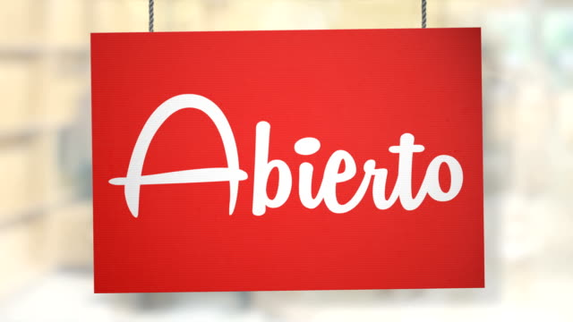 Abierto sign hanging from ropes. Luma matte included so you can put your own background.