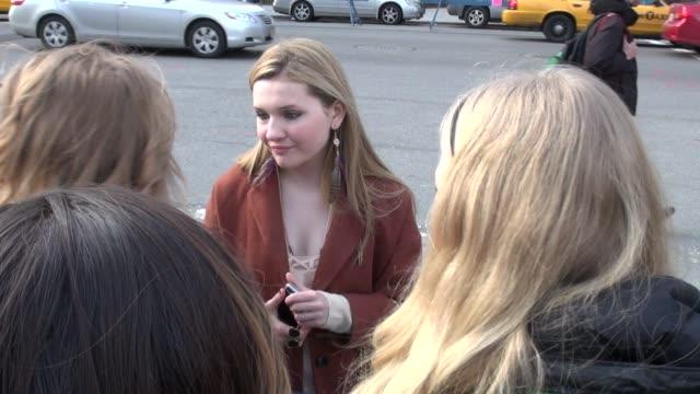 stockvideo's en b-roll-footage met abigail breslin at mercedesbenz fashion week in new york on 2/10/2012 - abigail breslin