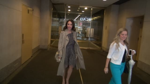 Abigail Spencer exits the Today show in Rockefeller Center talks about the show Suits before getting into her car in Celebrity Sightings in New York