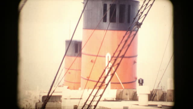 aboard rms queen elizabeth 1956 16mm (hd1080) - 1956 stock videos & royalty-free footage
