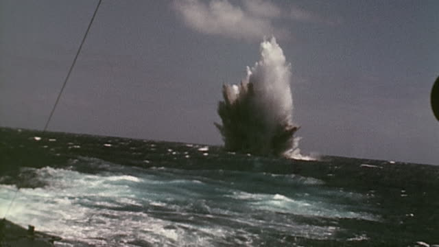 pov aboard us navy warship watching torpedo strike target ship and explode - us navy stock videos & royalty-free footage