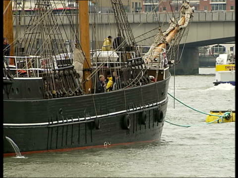 200th anniversary replica of the zong on river thames england london river thames ext various of replica square rigger slave ship 'the zong' moored... - river thames stock videos & royalty-free footage